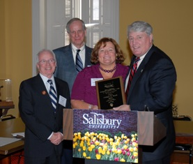 Drs. Fran Kane and Harry Basehart, co-directors of PACE; President Janet Dudley-Eshbach and Speaker Michael E. Busch.