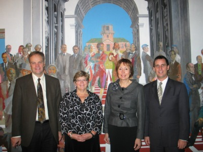 Pereboom; Olmstead; Birute Klass, UT's Vice-Rector for Academic Affairs; and Stiegler