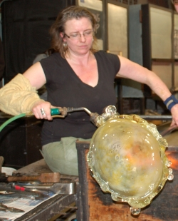 Alison Chism in SU Glassblowing Studio