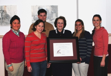 Carolyn Elmore (center) with scholarship winners and SGC Coordinator Amy Waters (right)