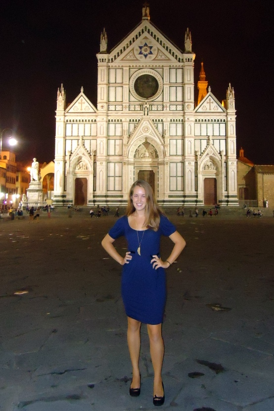 Dwyer at the Church of Santa Croce where she volunteered as an English-speaking guide