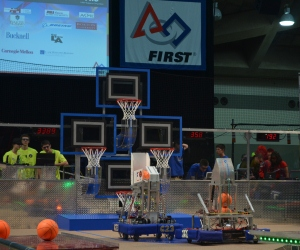 Brown (left) with First Robotics teammates