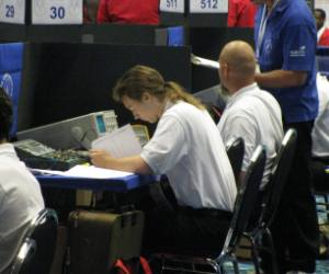 Brown troubleshooting a digital system during SkillsUSA