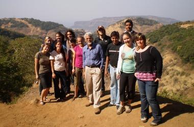 Dr. Praveen Saptarshi with SU students