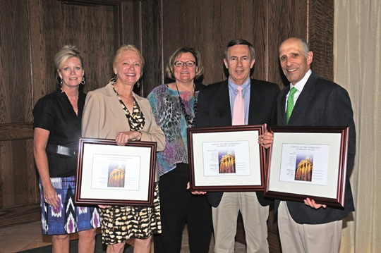Bruce Cort, Michael Guerrieri and Kathryn Washburn receiving awards