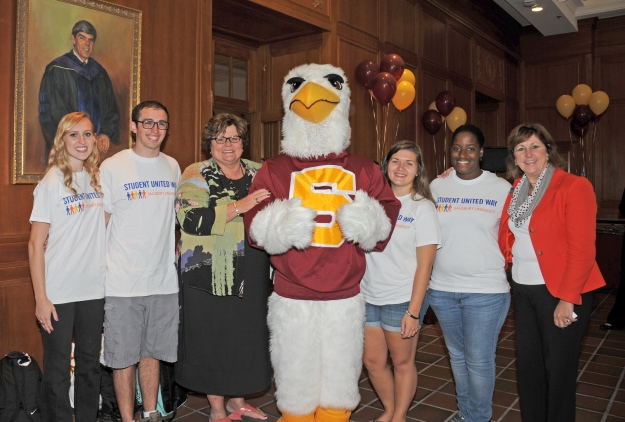 SU faculty and staff with Sammy the seagull