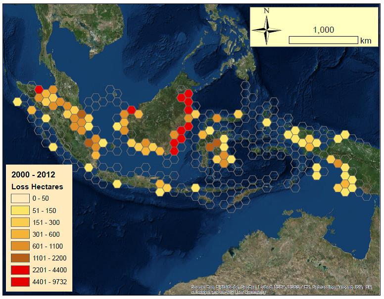 Map of Mangrove Loss Hotspots Since 2000