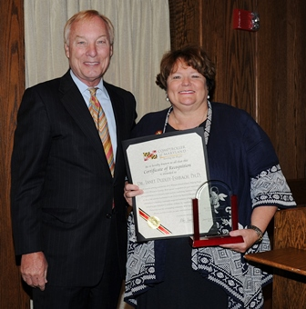 Comptroller Peter Franchot and SU President Janet Dudley-Eshbach