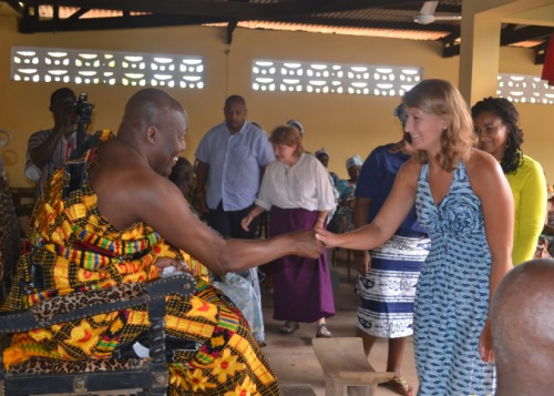 Salisbury School's Christine Cook meets a chief from the Amanokrom village.