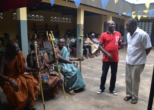 Dr. James King and Alex Boamah meet chiefs from the Amanokrom village.