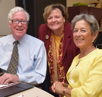 James Wright, SU President Janet Dudley-Eshbach and Carole Ratcliffe