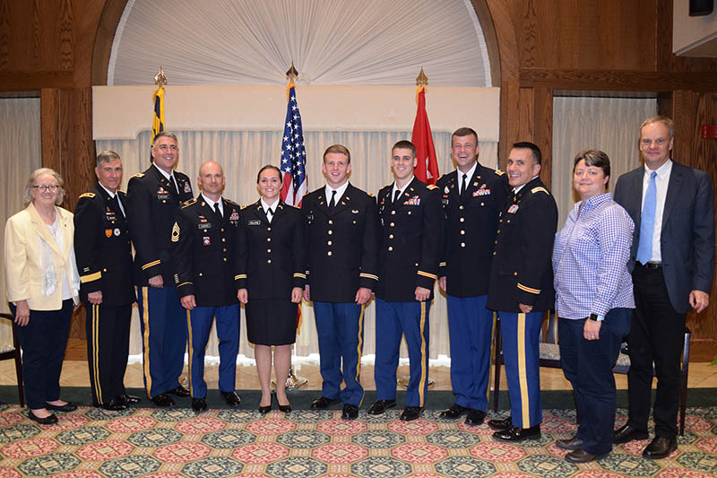 Two SU ROTC Cadets Commissioned - Pictured, from left, are Provost Diane Allen, Major General Francis G. Mahon, Major Sean McCleary, Master Sergeant Matthew Howard, 2LT Rachael Vallone, 2LT Jacob Fazio, Captain Philip Dowd, Captain Mac Howard, Noel Milian, Interim Seidel Dean Kelly Fiala and Fulton Dean Maarten Pereboom.