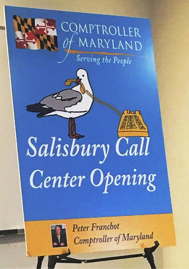 Comptroller of Maryland Salisbury Call Center sign