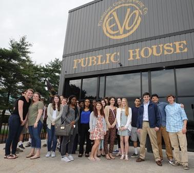 Students outside of Evo Public House